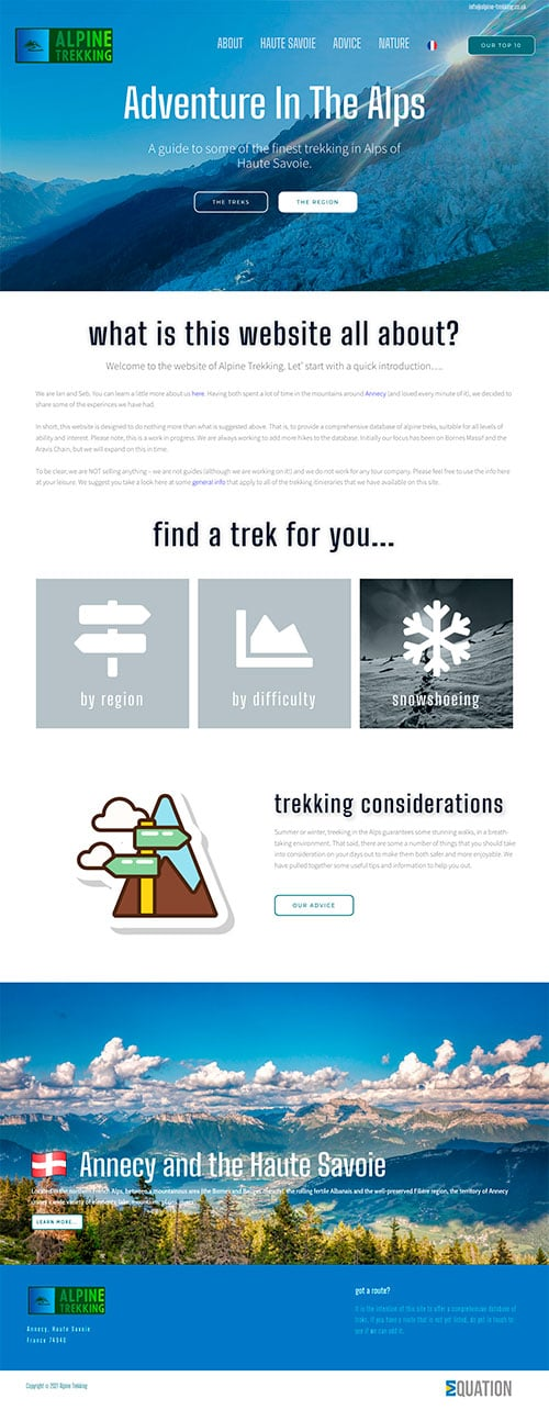 Example of sole trader website including design, brand and graphic charter creation