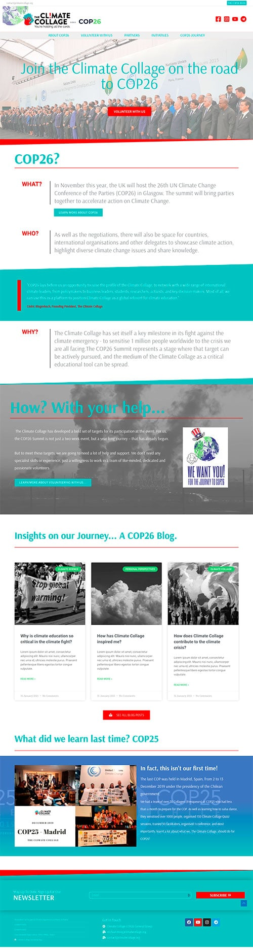 Full screenshot of a medium sized charity website homepage to engage and recruit clients