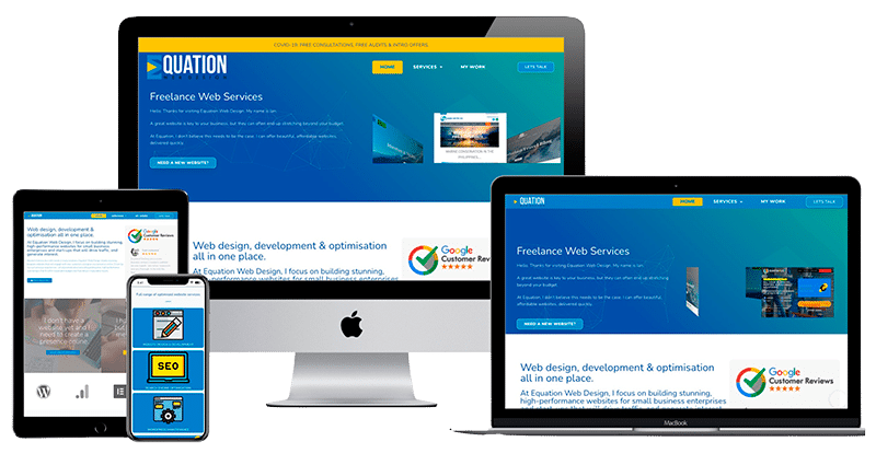 Responsive web design example across multiple viewport devices