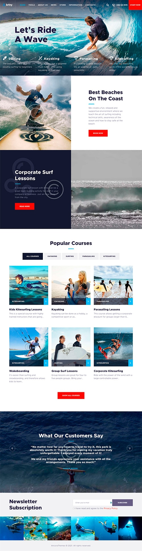 Full screenshot of homepage of a responsive website developed for a small watersports business.